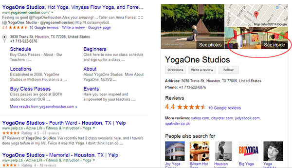 Your Business View tour will appear in Google search results